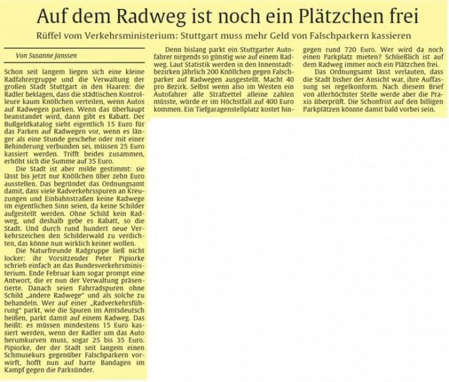 Titelseite Stuttgarter Zeitung 8.3.2008